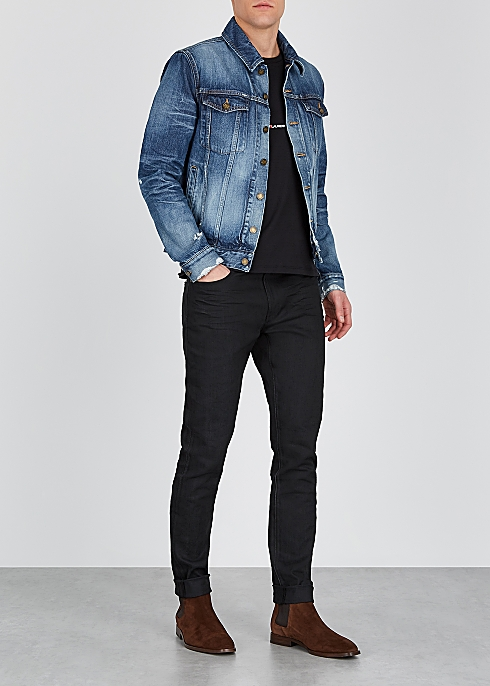 SAINT LAURENT Blue distressed denim jacket $‌1,025.00