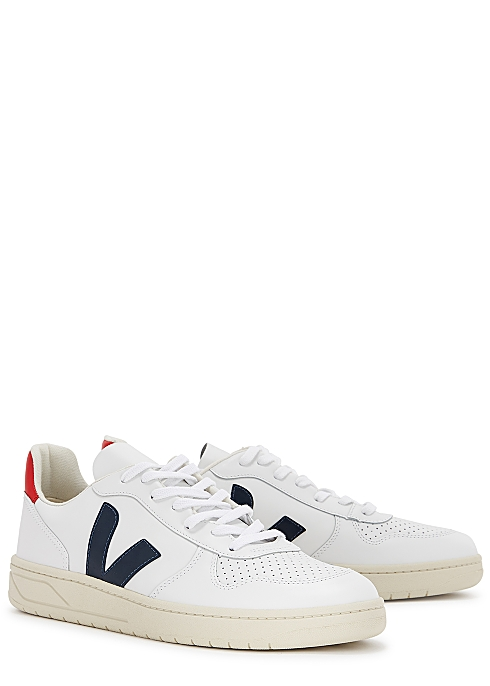 V-10 white leather sneakers $130.00