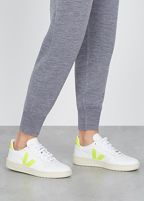 VEJA V-10 white leather sneakers$130.00