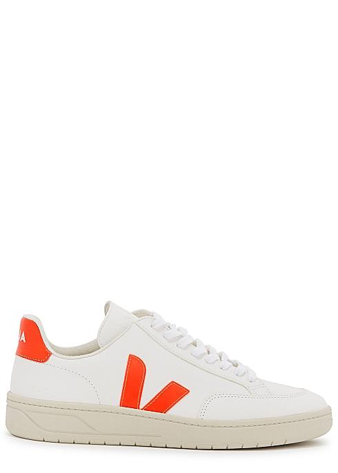 VEJA V12 white grained leather sneakers $135.00