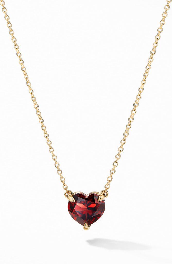 Heart Pendant Necklace in 18K Yellow Gold with Garnet DAVID YURMAN $750.00