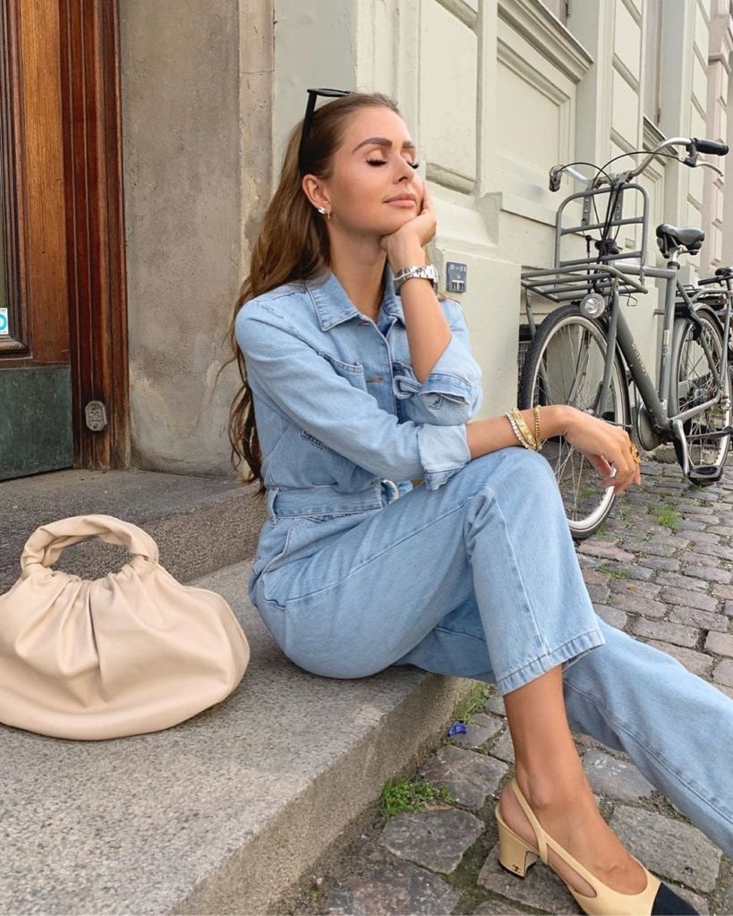 Waist Belt Denim Jumpsuit Blue $71.95