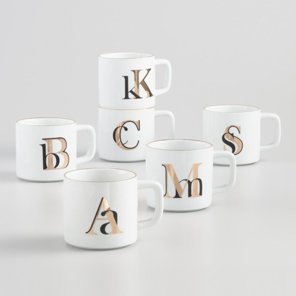 Gold Metallic Monogram Mug $3.99