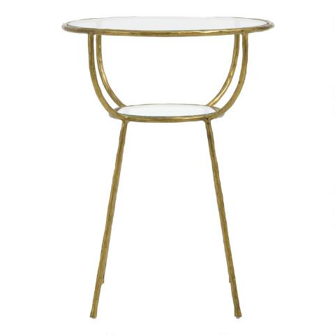 Round Glass and Gold Hammered Metal Hali Accent Table $139.99