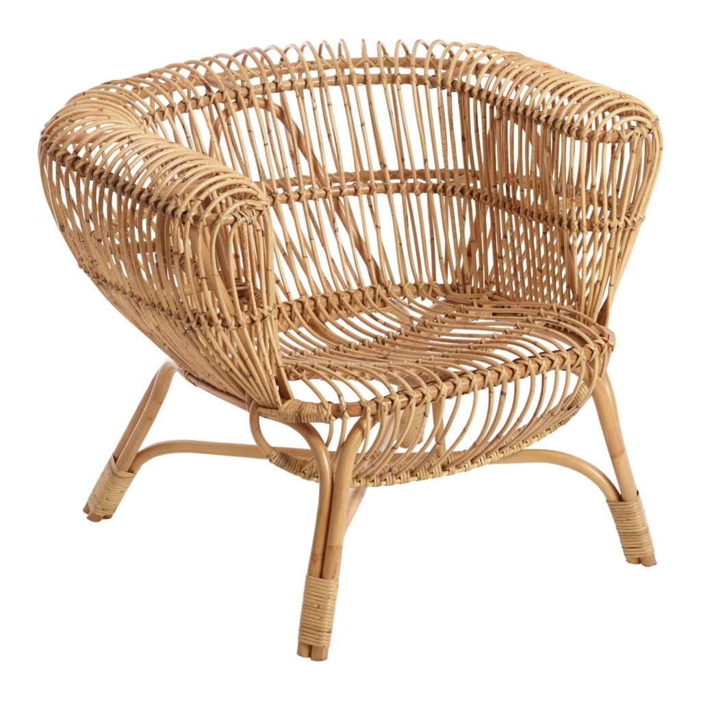 Handwoven Rattan And Kubu Roll Arm Calida Chair $89.99