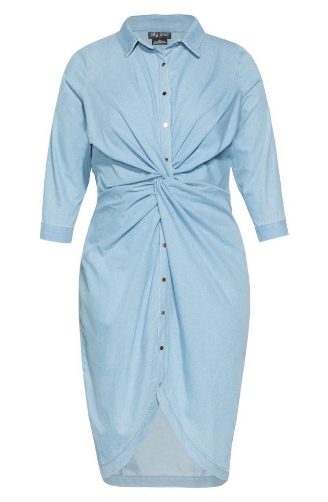 Twist Chambray Shirtdress $109.00