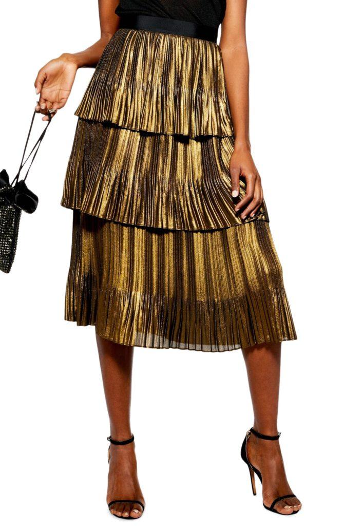 Metallic Tiered Midi Skirt $100.00