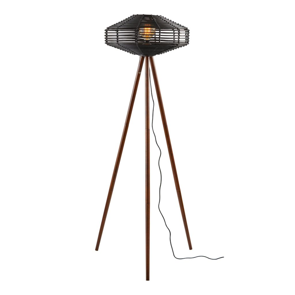 Black Rattan And Wood Kimo Floor Lamp $329.99