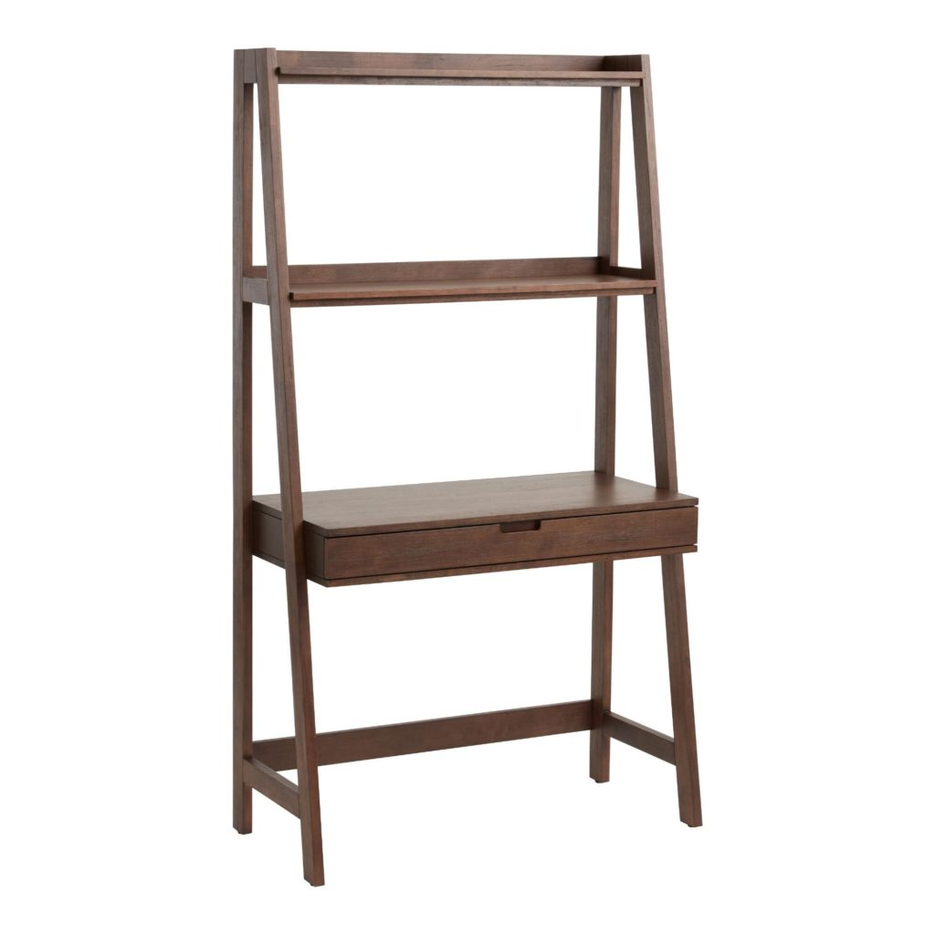Walnut Brown Modular Elias Desk With Shelf $299.99