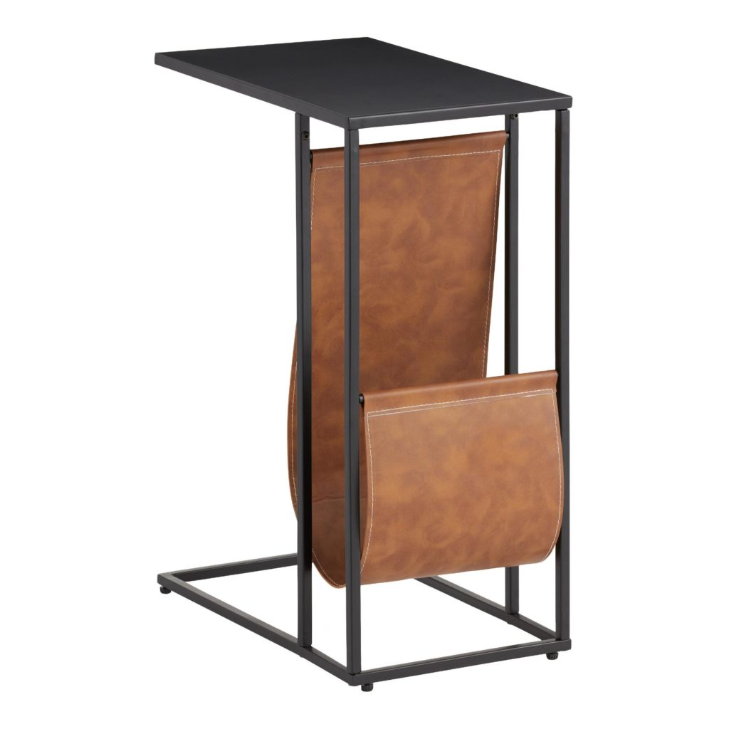 Black Metal And Faux Leather Hayden Laptop Table $99.99