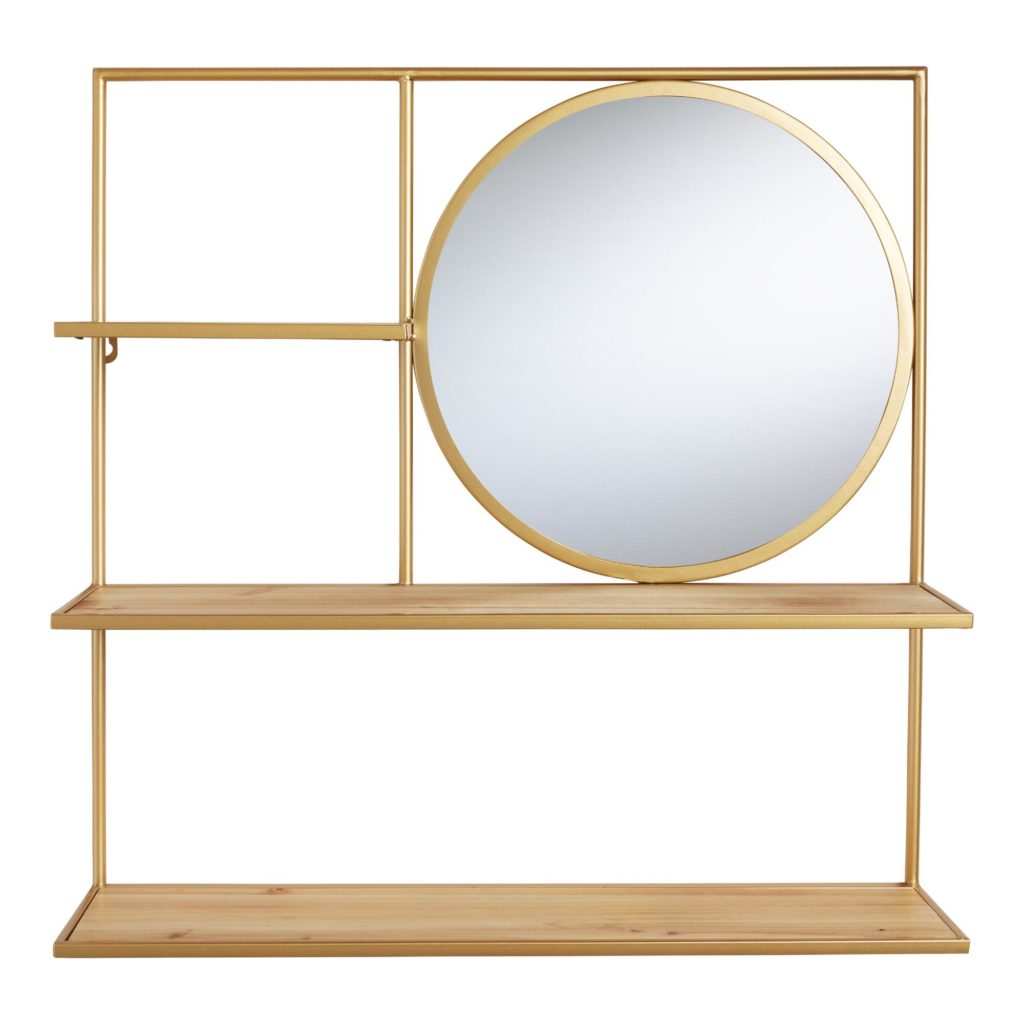 Natural Wood And Gold Avery Wall Shelf With Mirror $89.99