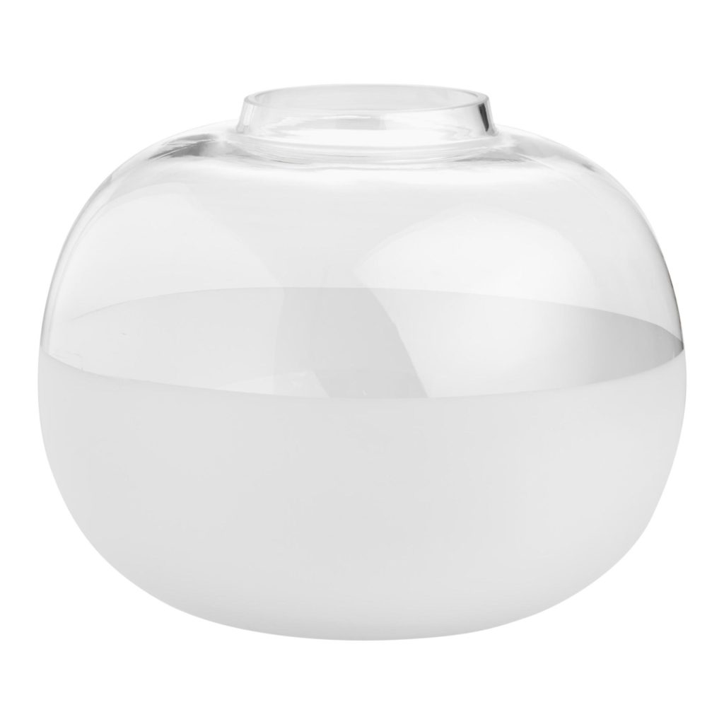 Large Round Clear And Frosted Glass Vase $17.99