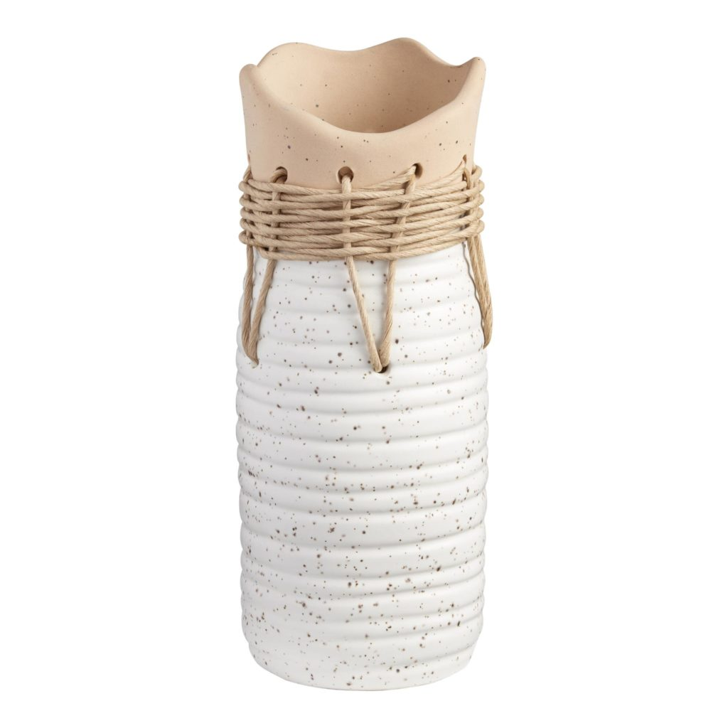 Tall Two Tone Woven Twine Organic Ceramic Vase $21.99