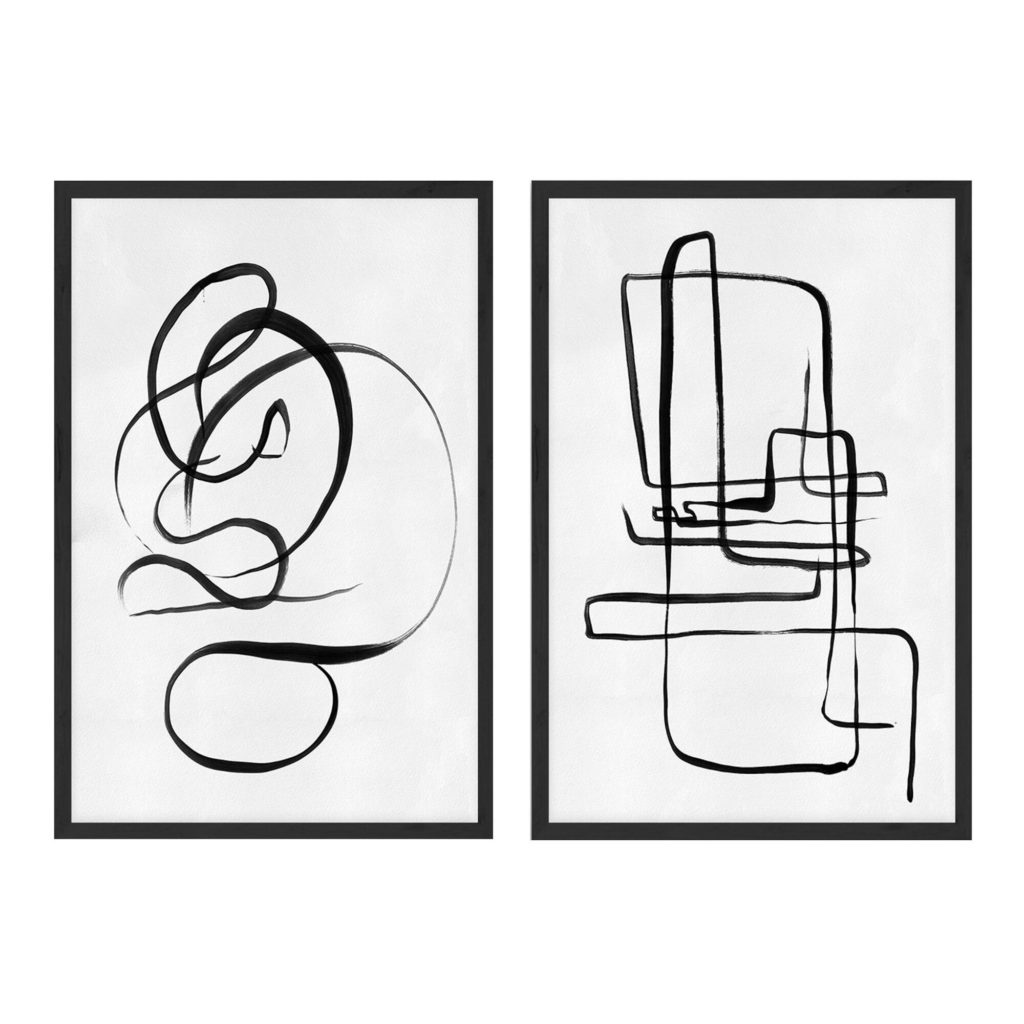 Scribble I & Ii Abstract Framed Canvas Wall Art Set Of 2 $143.99