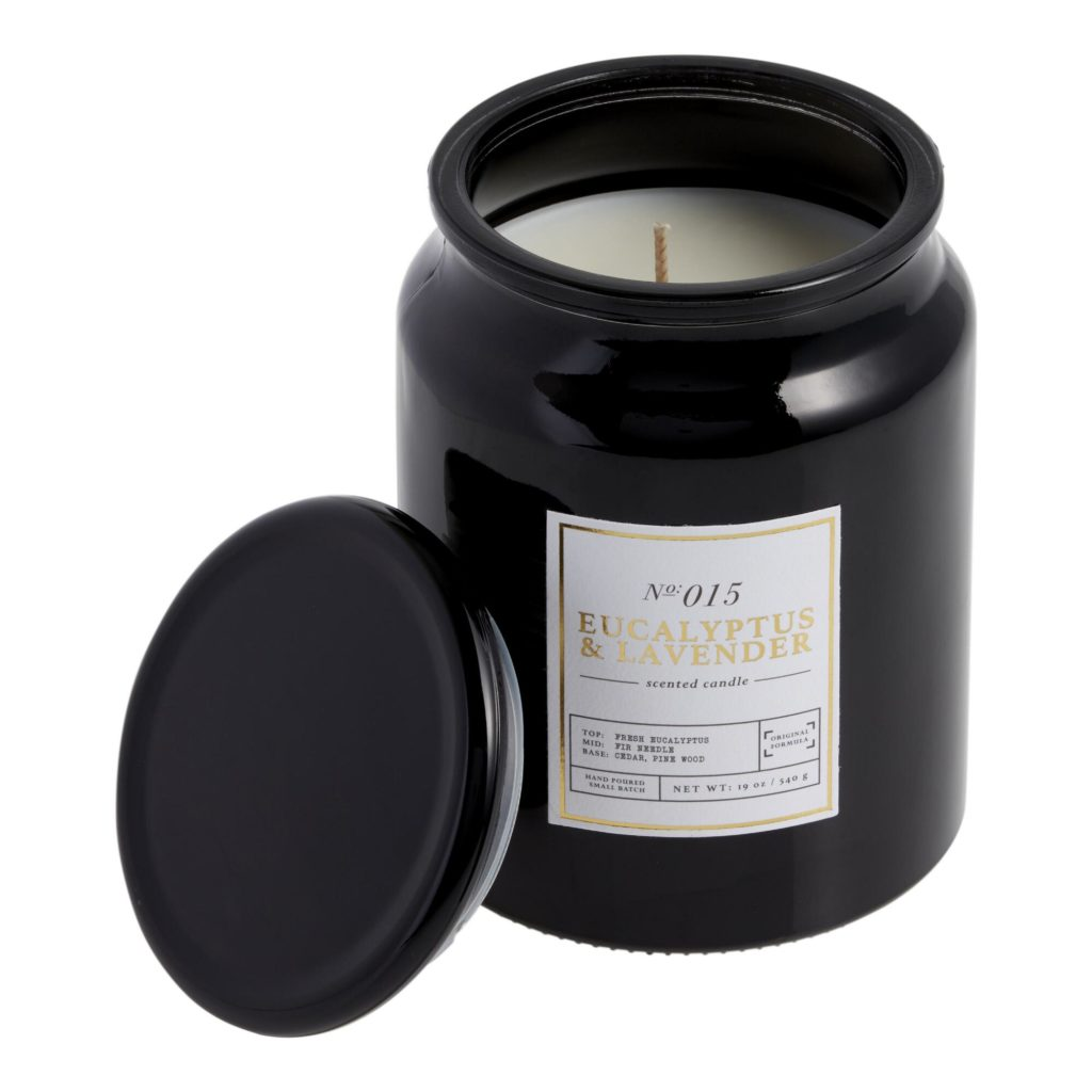 Tall Black Eucalyptus And Lavender Filled Jar Candle $19.99