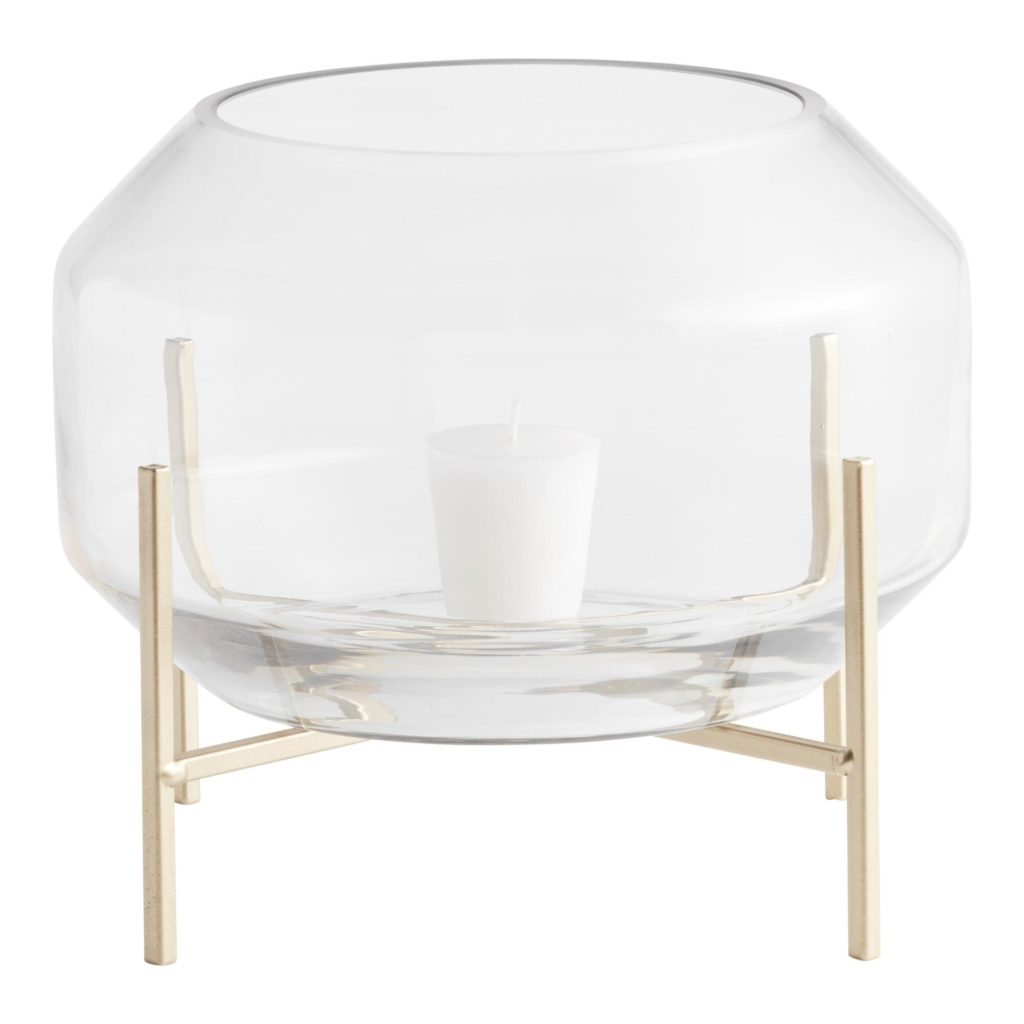 Clear Glass Hurricane Candleholder With Gold Metal Stand $24.99