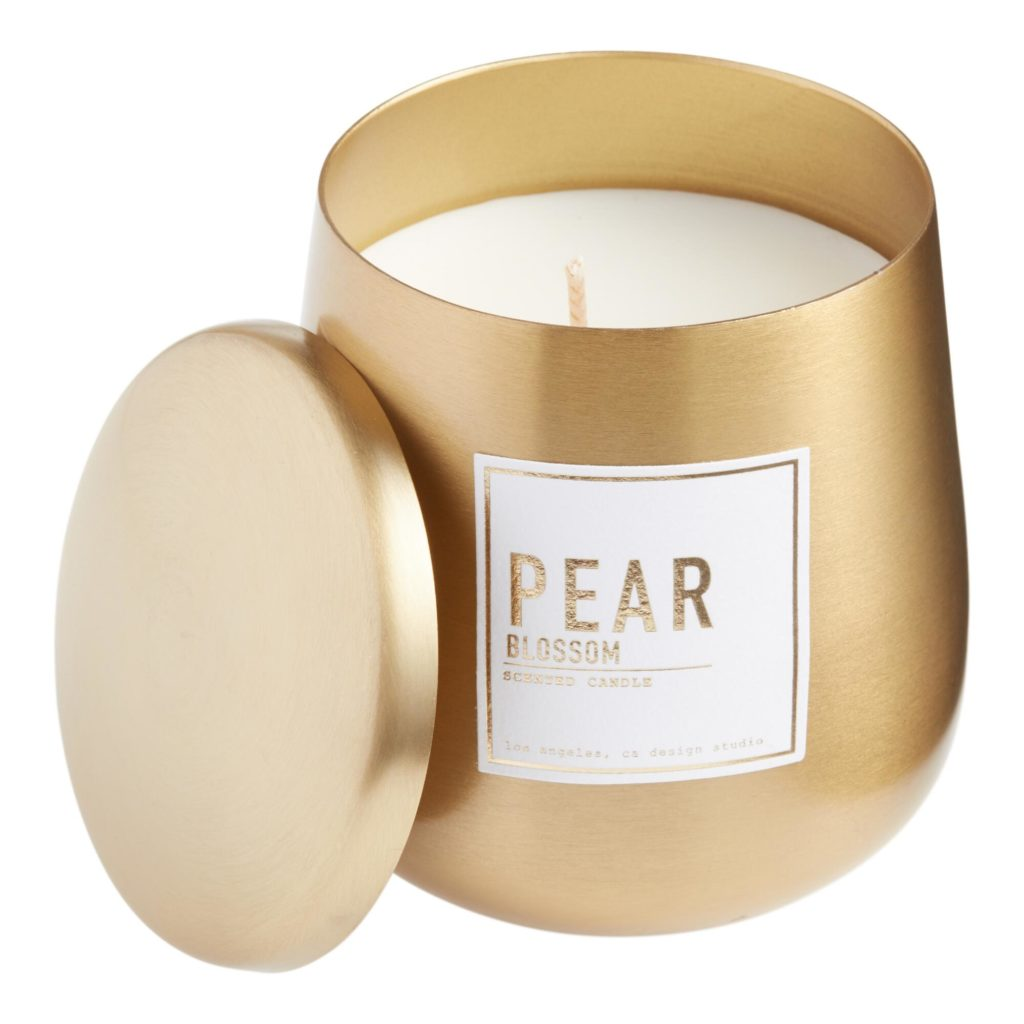 Gold Metal Sweet Pear Filled Candle $14.99