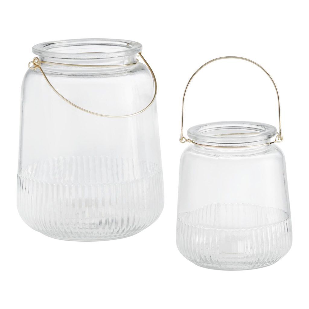 Ribbed Clear Glass Lantern With Gold Handle $7.99-14.99