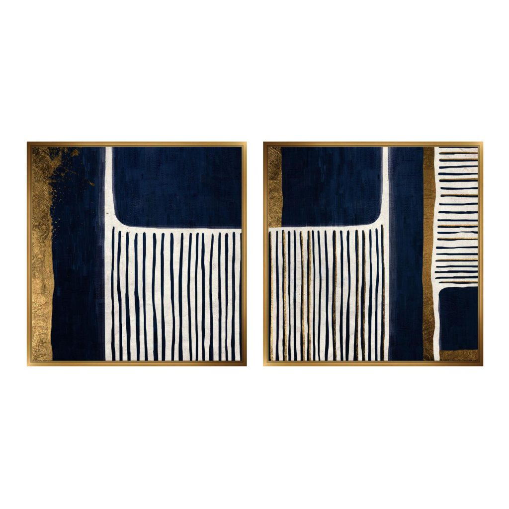 Blue And Gold Abstract Framed Canvas Wall Art Set Of 2 $239.99