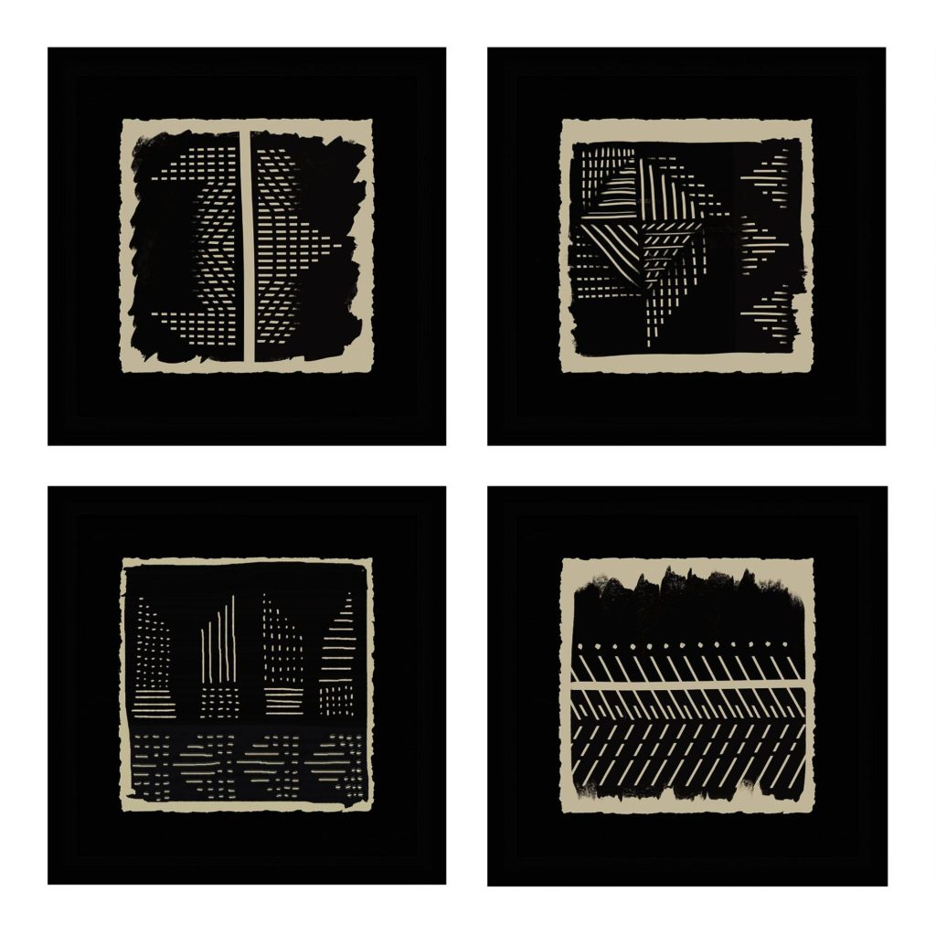 Black And Ivory Geo Patterns Framed Wall Art Set Of 4 $159.99 https://fave.co/2RBboo0