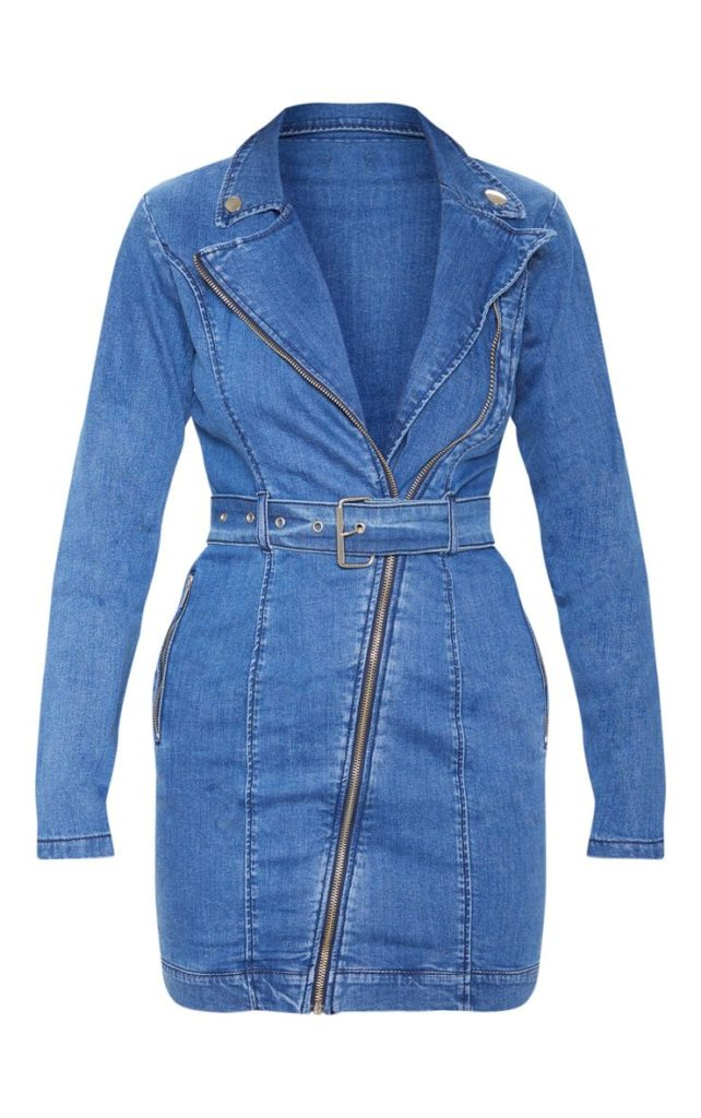 DARK BLUE BELTED ZIP DETAIL DENIM DRESS $55.00