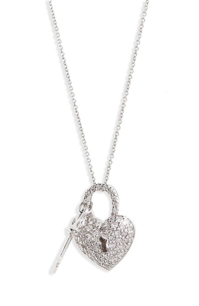 Diamond Heart Lock Pendant Necklace $2240.00