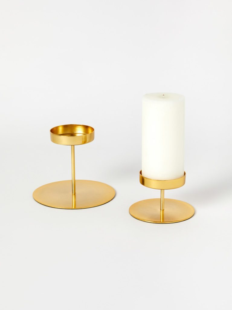 Be Home Short Gold Pillar Candle Holder $18.00