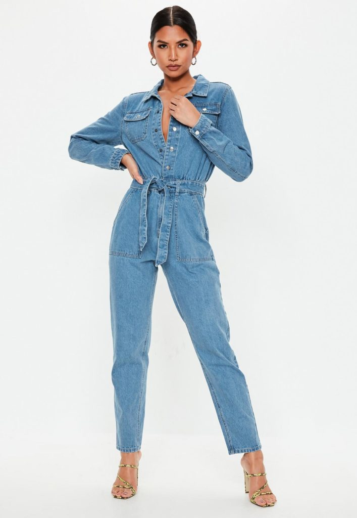 blue boiler button through denim jumpsuit $76.00