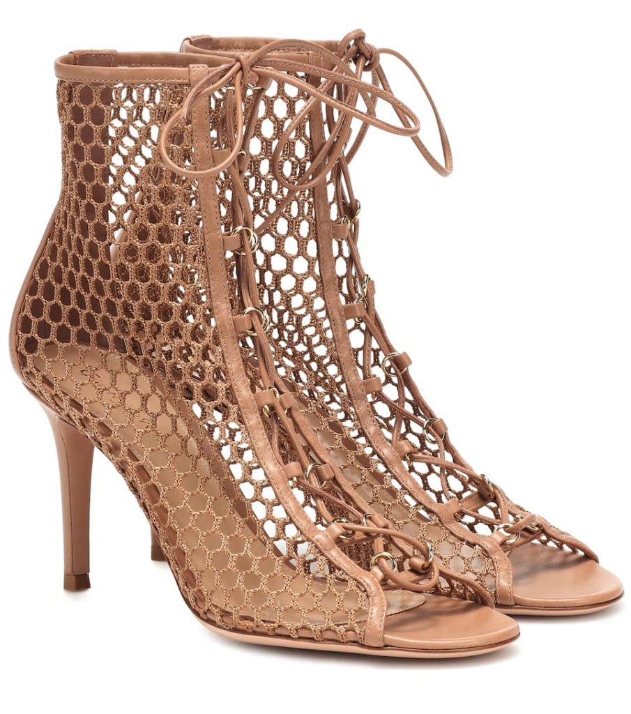 GIANVITO ROSSI Helena fishnet ankle boots$ 915