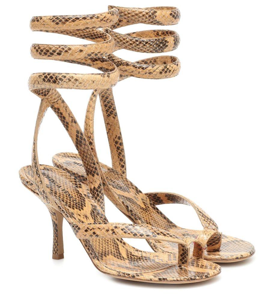 BOTTEGA VENETA Snake-effect leather sandals $ 1,220