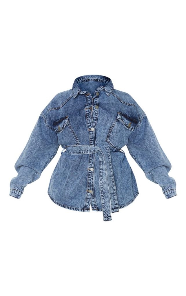 PLUS MID BLUE ACID WASH BELTED DENIM JACKET $72.00