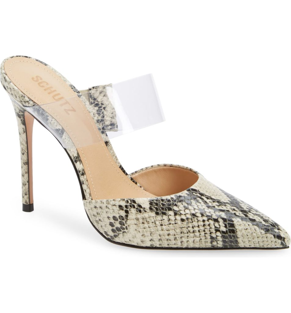 Sionne Clear Strap Pointed Toe MuleSCHUTZ $169.95