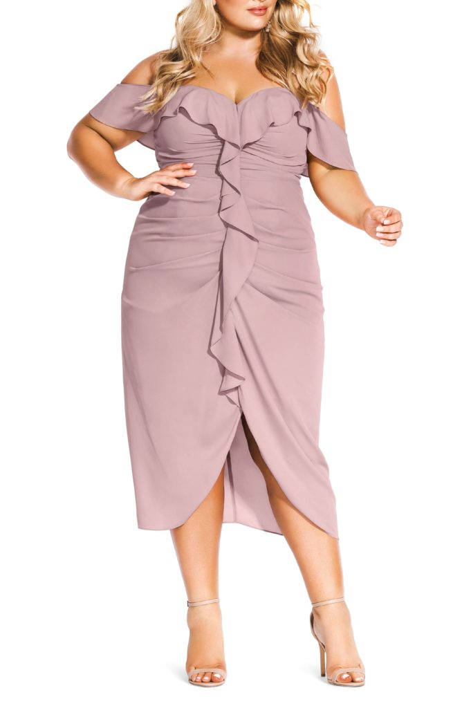 Va Va Voom Ruched Ruffle Dress CITY CHIC $159.00