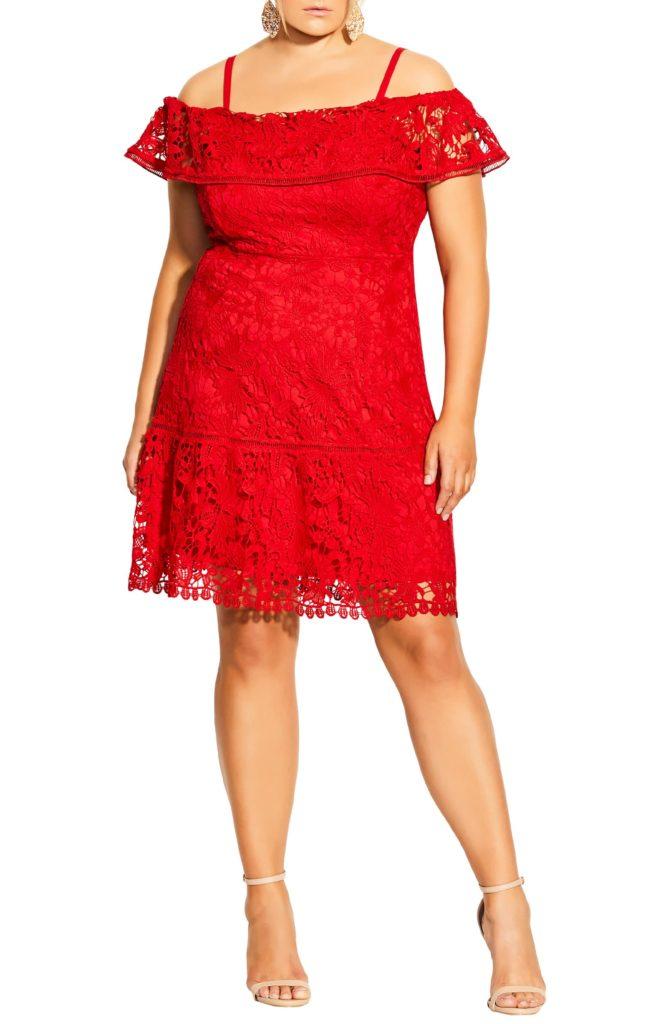 Dream of Lace Cold Shoulder Dress CITY CHIC $129.00