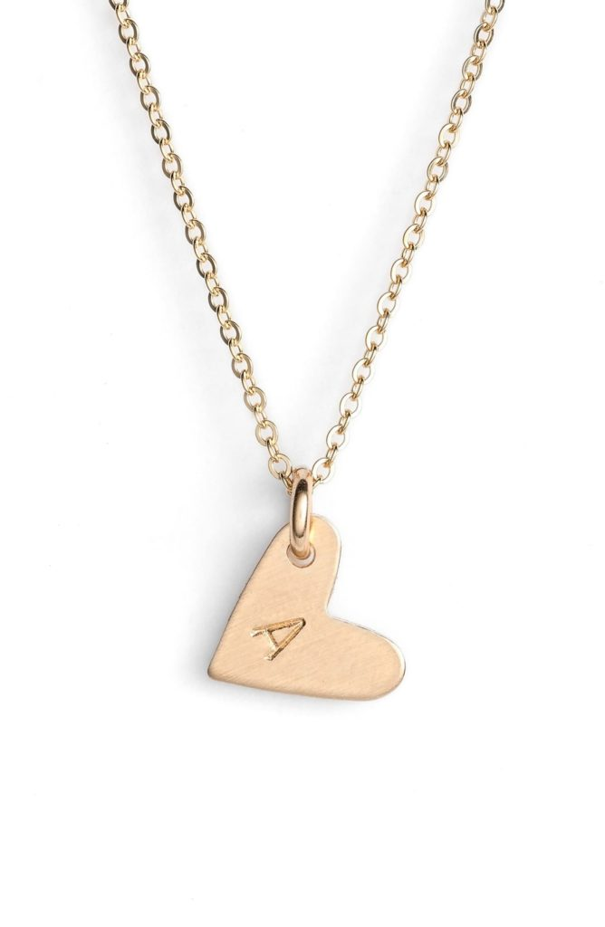 14k-Gold Fill Initial Mini Heart Pendant Necklace NASHELLE $45.00