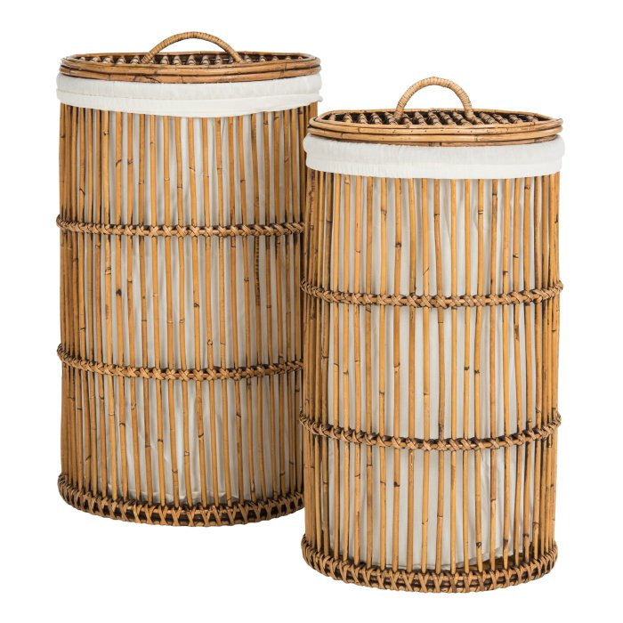Safavieh Libby Rattan Storage Hamper with Liner - Set of 2 $195.52