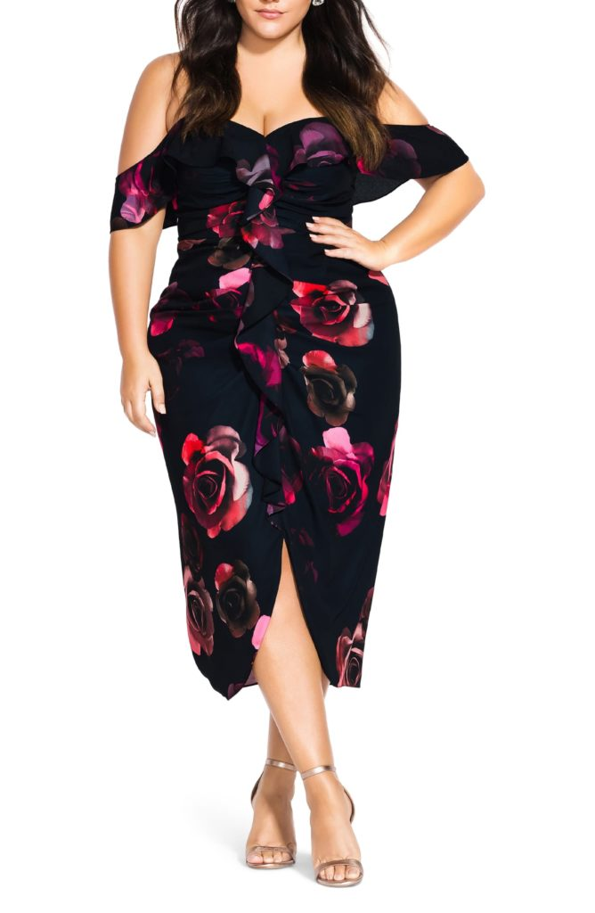 Decadent Floral Off the Shoulder Dress CITY CHIC $169.00