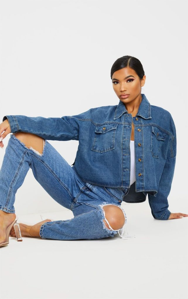 MID WASH BOXY DROP SHOULDER DENIM SHIRT $52.00