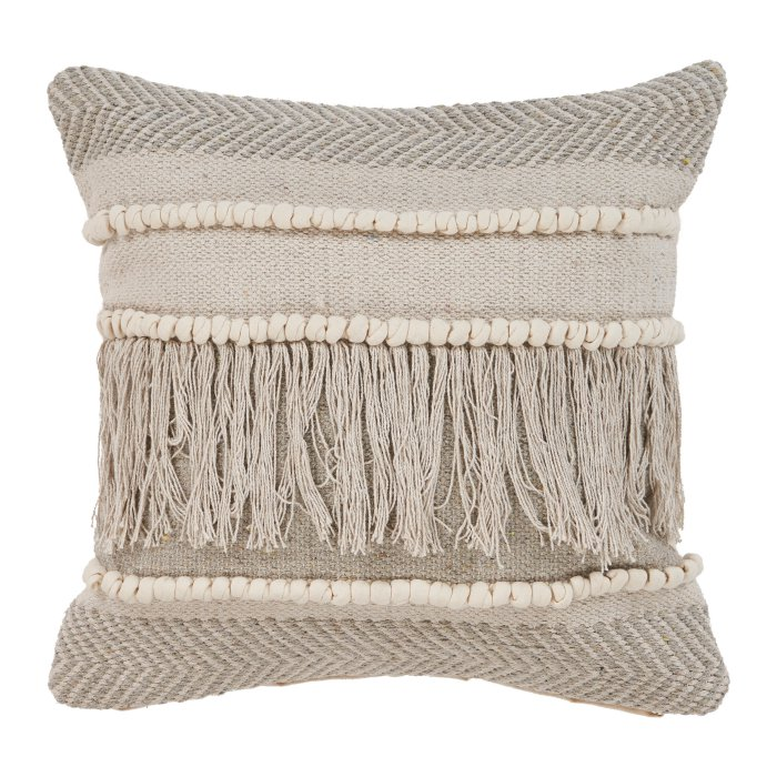LR Resources Beige Overtufted Farmhouse Throw Pillow $36.97