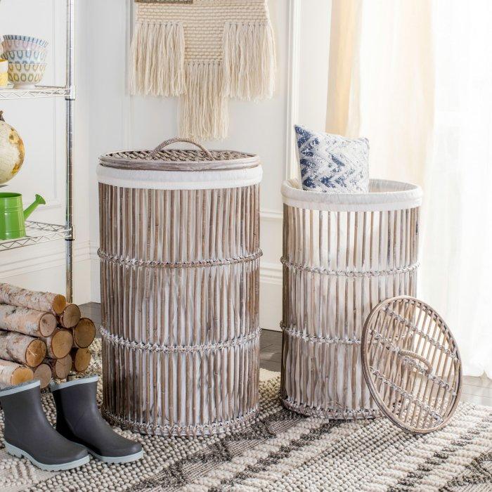 Safavieh Libby Rattan Storage Hamper with Liner - Set of 2 $195.52