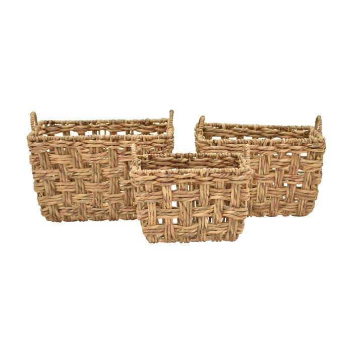 Three Hands Rectangular Water Hyacinth Decorative Baskets - Set of 3 $217.73