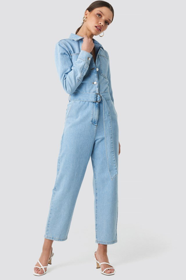 Waist Belt Denim Jumpsuit Blue $35.97