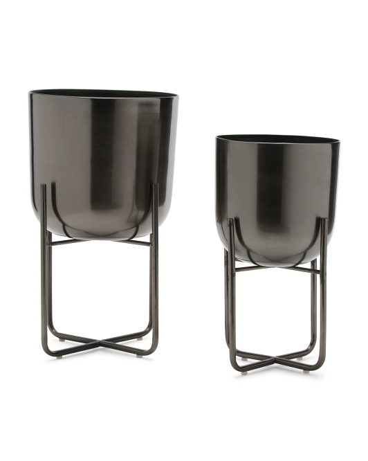 UMA Set Of 2 Metal Planters $29.99