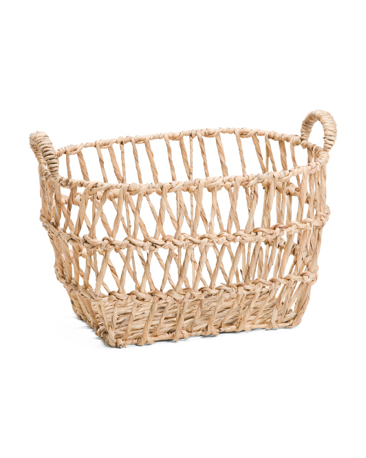 MADE IN VIETNAM Large Twist Oval Basket With Handles$24.99