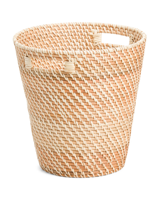 MADE IN VIETNAM Round Natural Rattan Waste Bin $19.99