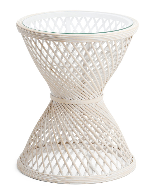SAGEBROOK HOME Rattan Accent Table With Glass Top $79.99