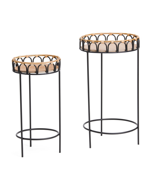 SAGEBROOK HOME Set Of 2 Rattan Plant Stands $59.99