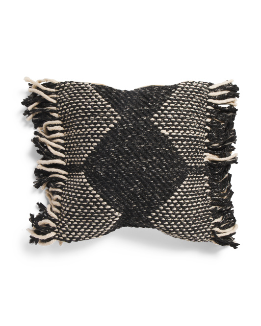 INDIGO COLLECTION 20x20 Textured Woven Pillow With Thick Fringe $29.99