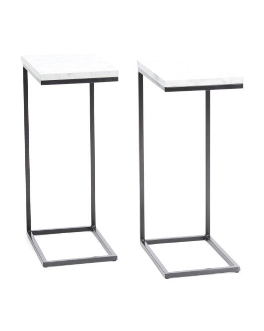 TAINOKI Set Of 2 Faux Marble C Tables $79.99