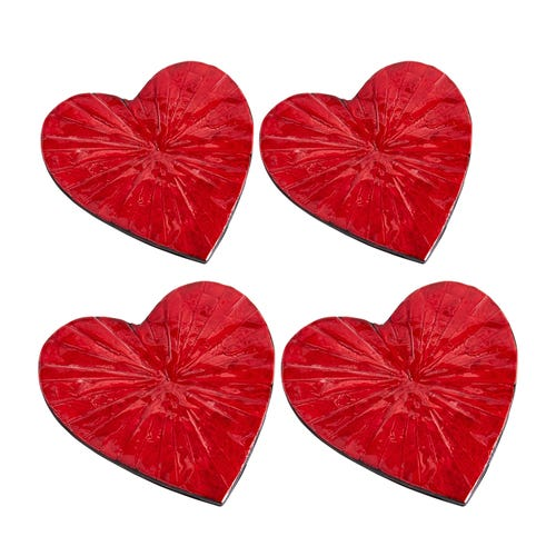 Red Heart Mother-of-Pearl Coaster Set of 4 $11.99